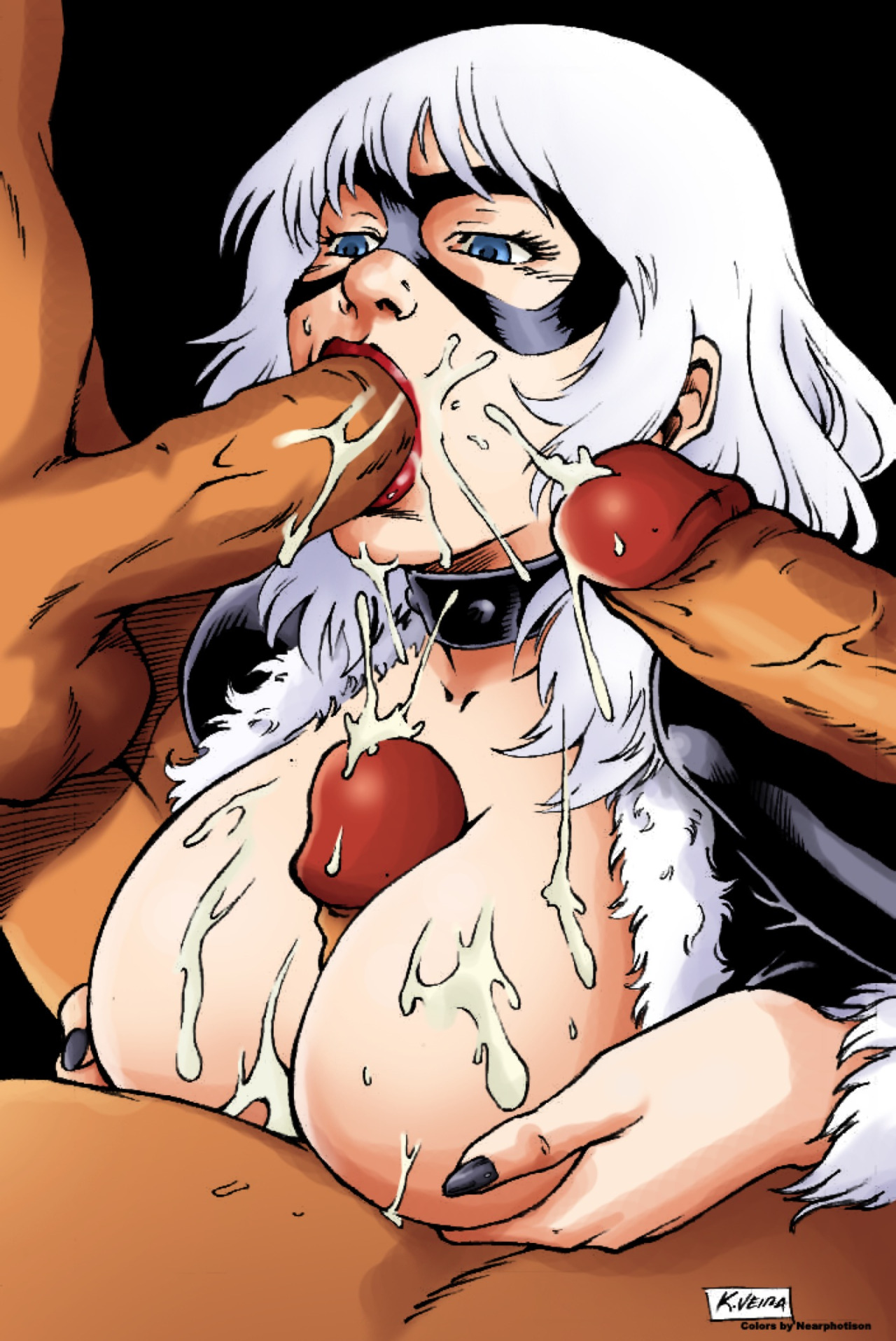 Busty cougar milf in bra jerking dick