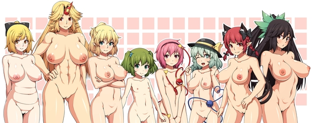 young hentai porn hentai vol tail hair breasts nipples pussy pics nude eyes hat group red wink touhou catgirl fang aqua bow horns headband ponytail navel braids kisume