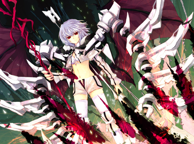 black rock shooter hentai black hair eyes weapon rock red wings cosplay konachan short touhou asagi shooter scarlet shii remilia