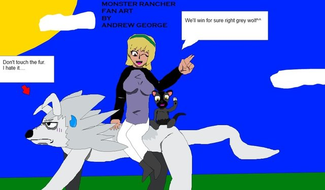 monster rancher hentai art monster team fan wolf grey rancher andrewgeorge