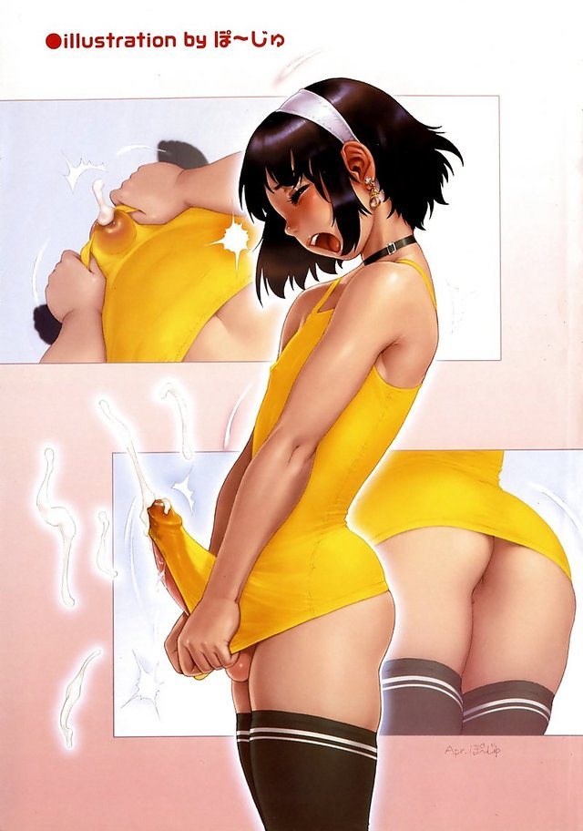open mouth hentai page cum ass blush open mouth penis stockings collar colored male dblog slave thighhighs trap ejaculation shota solo highres vertical earrings poju androgynous crossdress crossdressing