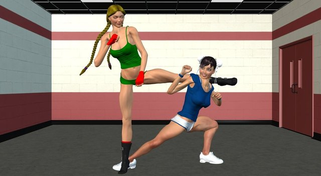 chun li and cammy hentai morelikethis gym cammy chunli digitalart spar chingafakes