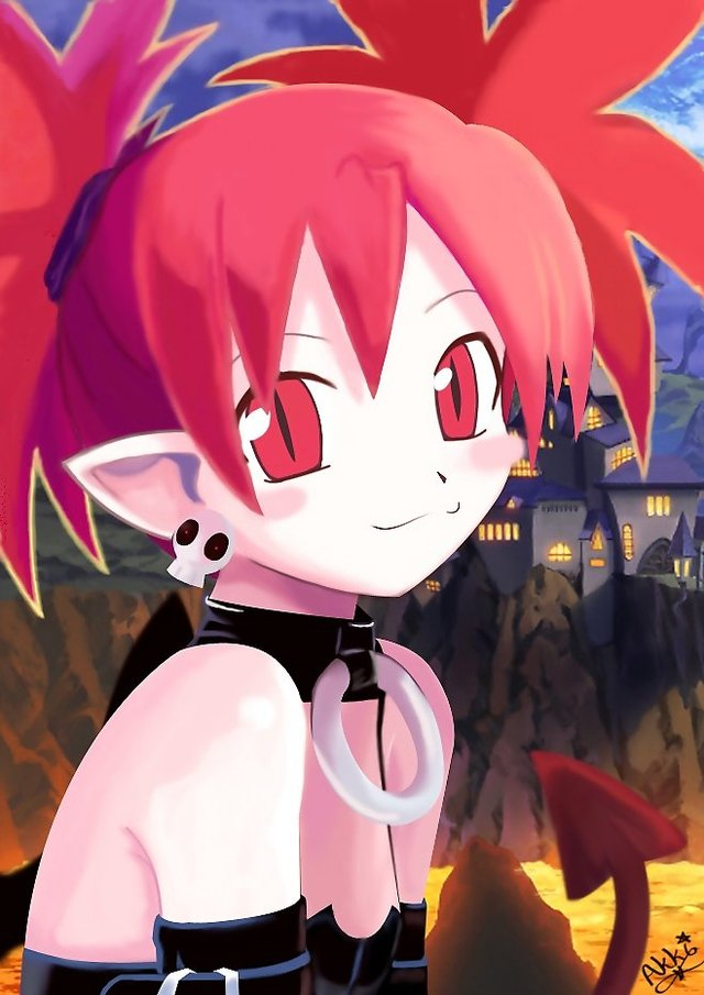 demon girls hentai girl female hair bloganime eyes gloves collar monster castle red ears demon loli makai senki necklace earrings outdoors disgaea etna sha lava pointy
