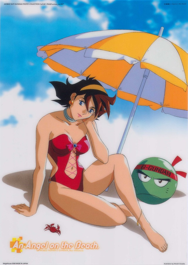 g gundam hentai beach absurdres bare shoulders anklet