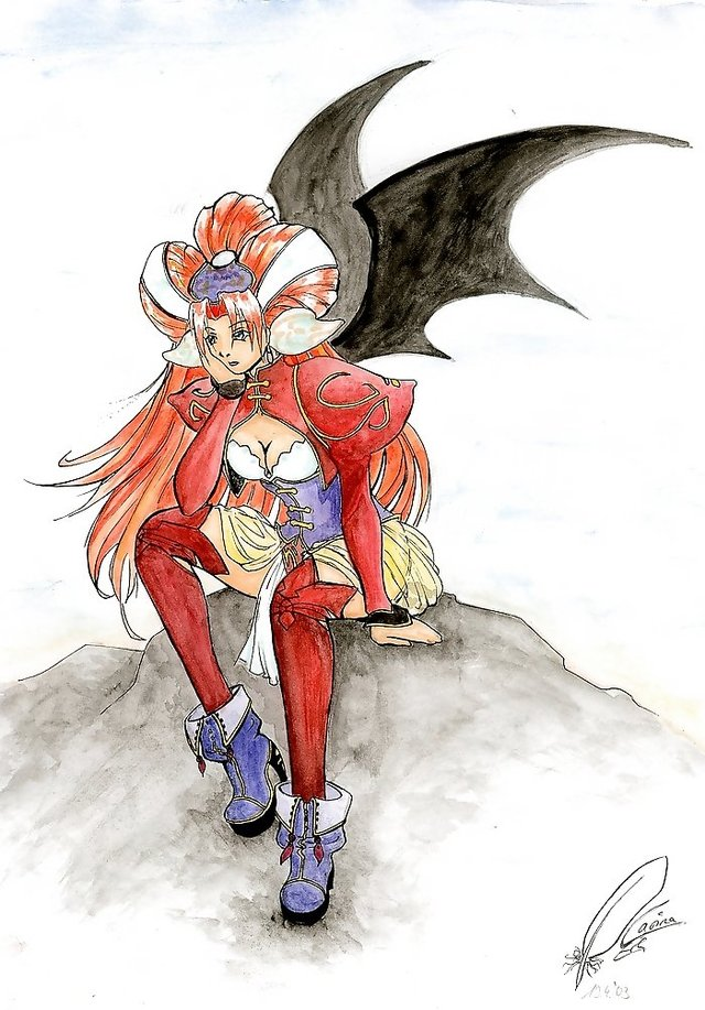 grandia hentai breasts cleavage blue eyes boots wings bat grandia