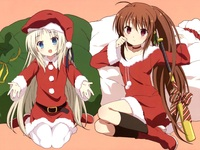 refrain blue hentai data wallpaper littlebusters santa rin kud little busters final team assembled now lets play