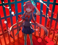 yu-no hentai konachan bow gasai yuno knife koromono long hair mirai nikki phone pink red eyes seifuku