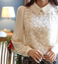 gratis manga porn wsphoto autumn korean lace long sleeved chiffon shirt three dimensional flower beaded doll collar largo manga camisa gasa encaje superior env gratis