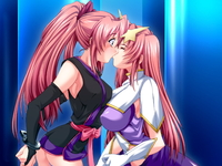 gundam seed/destiny hentai girls bdsm bondage cuffs game gundam seed destiny handcuffs kiss multiple yuri