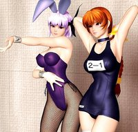 dead or alive hentai hentai animal ears ayane bunny bunnysuit dead alive erect nipples fishnets horizontal kasumi one piece swimsuit pantyhose polygon school page