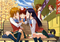 futari wa pretty cure hentai bench brown hair food futari