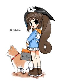 brown hair hentai hentaiblog brown hair bunny dog green eyes long mibu natsuki miniskirt original ponytail school uniform shiba inu skirt