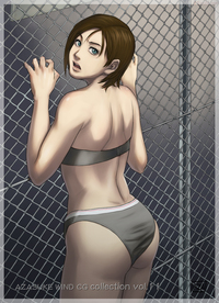 brown hair hentai galerias imagensgames hentai azasuke back bra brown hair fence green eyes highres jill valentine lingerie panties resident evil short