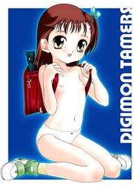 highres hentai backpack brown hair digimon tamers highres katou juri loli nipples panties randoseru shoes sneakers socks topless yellow eyes bag bow short side ponytail