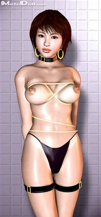 huge breasts hentai bloganime babe bikini breasts collar earrings highres huge jewelry large metadoll nipples polygon rope short hair swimsuit topless vertical
