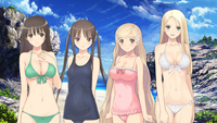 twintails hentai static konachan beach bikini black hair blonde cleavage erect nipples fault hayama rika long saeki sugiyama mio swimsuit taka tony twintails