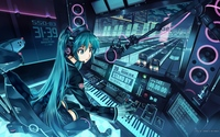 twintails hentai abcaf ace dbeb konachan aqua hair boots hatsune miku headphones long mikumix thighhighs train twintails vania vocaloid show