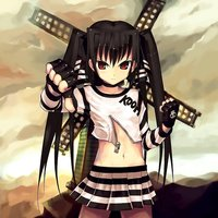 twintails hentai black hair choker fingerless gloves flat chest highres kooh loli midiman midriff pangya red eyes skirt skull down twintails unzipped vip quality windmill zipper