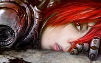 red hair hentai wall cyber girl