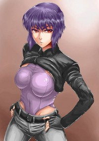 purple hair hentai kusanagi motoko ghost shell hentai panties purple hair short