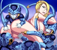 android 18 cell hentai toons pics pic picture android ass backboob blonde hair breasts cell censored dragon ball earrings female ichijiku jewelry large looking back nipples pussy rape tentacle