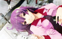 bakemonogatari hentai konachan bakemonogatari purple hair red eyes seifuku senjougahara hitagi tagme tie category final impression