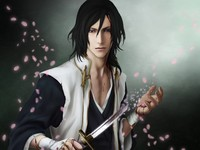 byakuya hentai art zetsuai byakuya kuchiki bleach boy knife blood broken petals wallpaper