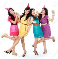 create your own hentai girl ferli excited four young beautiful girls celebrate birthday isolated over white background stock photo cynidy