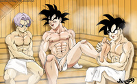 dbz cell hentai sauna goku trunks gohan foot massage dragon ball kai yaoi gay hentai muscle dbkai jhemos