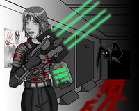 dead space hentai ded armor dead space genderswap gun helmet isaac clarke light power suit scifi prev