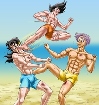 dragoballz hentai dbz gay hentai yaoi bishonen muscle dbkai bara dragon ball kai saiyan peruggine muay thai beach fanart gohanxtrunks training
