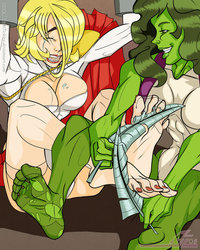 she hulk e hentai pre powergirl tickled hulk oekakitickles othc power girl together