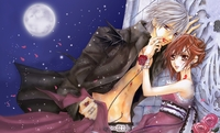 vampire knight hentai pics vampire knight kiryu zero yuuki cross girl guy night moon roses petals wallpaper