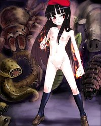 young anime hentai nanashi arachnid black hair blush breasts element bender fire flat chest hat loli long monster navel nipples nude pussy red eyes shoes socks solo spider swea page