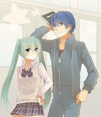 kaito hentai albums userpics bad blue eyes hair bowtie green hand hip hatsune miku kaito long skirt sweater vest twintails tyanpon vocaloid hentai categorized wallpapers galleries